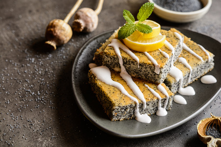 poppy seeds: Delicious poppy seeds cake topped with lemon glaze