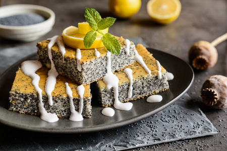 Delicious poppy seeds cake topped with lemon glaze