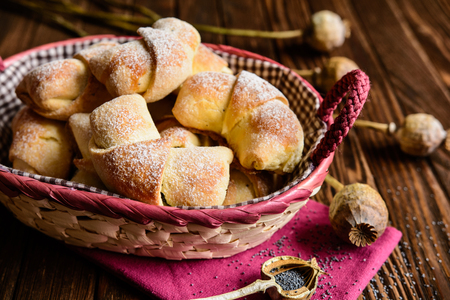 Sweet rolls with poppy seeds and raisins filling