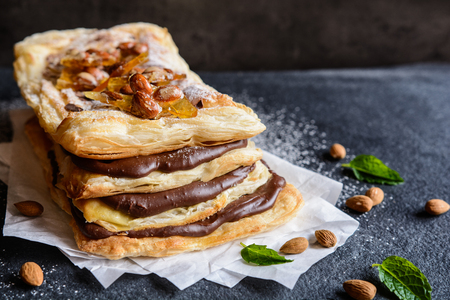 Mille-feuille with chocolate cream and caramelized almond topping