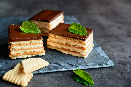 Caramel and chocolate layered cracker toffee bars Фото со стока
