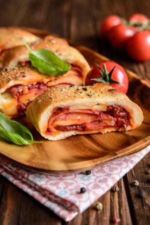 Traditional Italian Stromboli stuffed with cheese, salami, green onion and tomato sauce