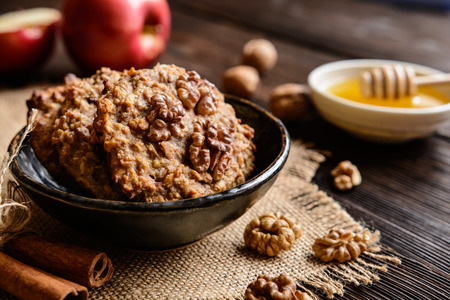 Apple cookies with walnut, honey, oatmeal and cinnamon