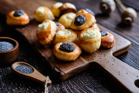 Small pies with curd and poppy seeds topping