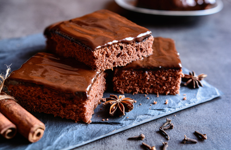 Delicious cocoa gingerbread cake with marmalade and chocolate topping