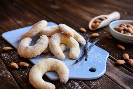 Delicious crescent shaped vanilla rolls with almond