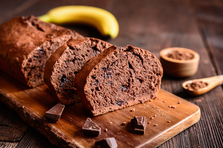 Delicious homemade chocolate banana loaf of bread