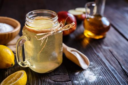 Detox drink made of water, apple cider vinegar, lemon juice and baking soda 写真素材