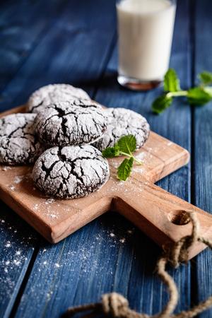 crinkles: Chocolate crinkle cookies with powdered sugar icing