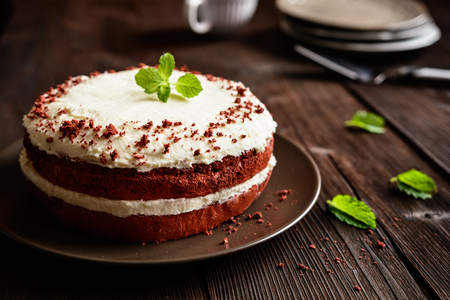 Traditional Red velvet cake with whipped cream and mascarpone filling
