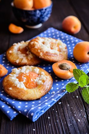 sprinkled: Fresh baked pies topped with apricot halves and streusel Stock Photo