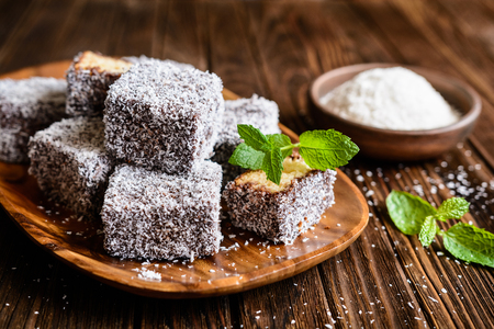 Australian Lamington cakes coated in a chocolate and shredded coconut