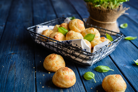 Traditional French Gougerés - savory cheese choux pastry Stock Photo