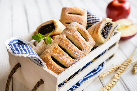 Delicious pies with poppy seed, apple and cinnamon filling