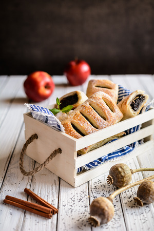 christmas grounds: Delicious pies with poppy seed, apple and cinnamon filling