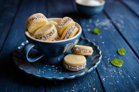 Alfajores - 캐러멜로 덮인 우유와 코코넛으로 가득한 전통적인 샌드위치 쿠키