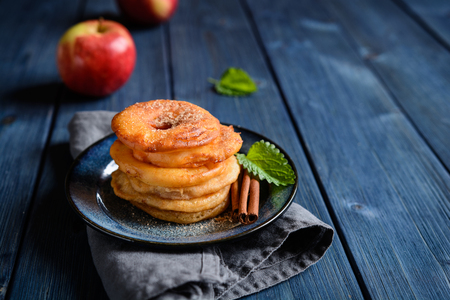 Delicious fried apple rings in a batter