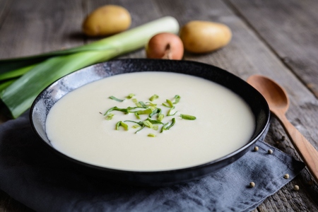 Vichyssoise - traditional French soup made of leek, potato and onion