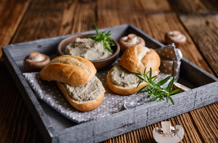Healthy mushroom spread with quail eggs, onion and cheese Stock Photo
