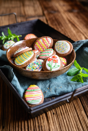 Homemade Easter egg sugar cookies with royal icing