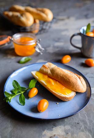 Homemade exotic kumquat jam with mandarins
