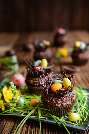 Easter nest cupcakes with chocolate whipped cream, decorated with colorful eggs Stock Photo - 119654990