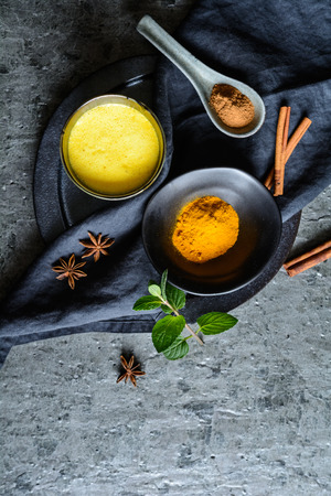 Easy to make healthy drink, turmeric golden milk in a jar
