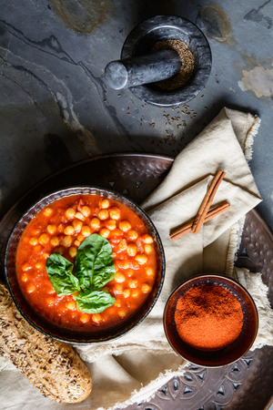 Delicious vegetarian Moroccan chickpea soup in a bowl