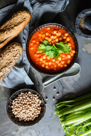 Delicious vegetarian Moroccan chickpea soup in a bowl Stock Photo - 123899951