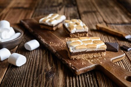 Homemade S'mores bars with marshmallows and chocolate