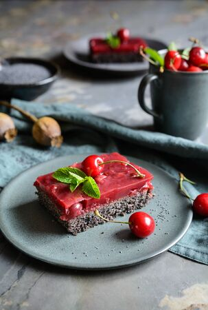 Delicious poppy seed cake with cherry custard on a rustic background
