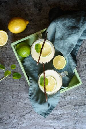 Italian Alcoholic beverage Crema di Limoncello made of lemons, whole milk, vanilla and sugar
