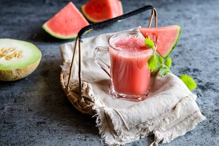 Cold summer drink, refreshing juice made from three types of watermelon