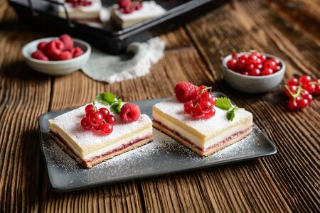 Delicious dessert, linzer curd bars with red currant and raspberry jam filling