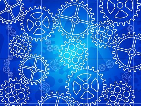 Vector gear blueprint background