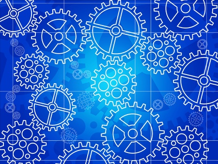 mechanical engineering: Vector gear blueprint background