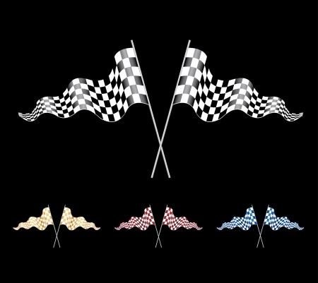 Checkered Flags set Stock Vector - 10750225