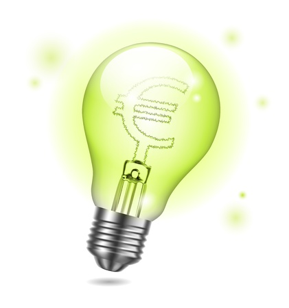Vector bulb and euro sign Vector