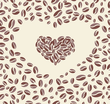 Vector Coffee bean heart background Stock Vector - 10750227