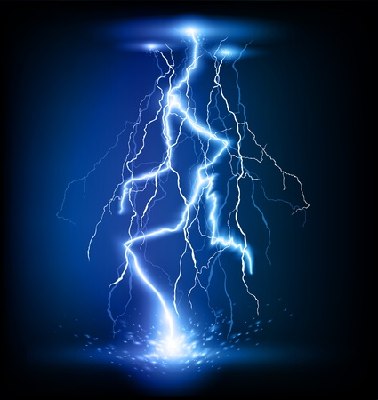 thunder storm: vector lightning flash strike background