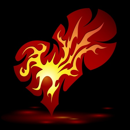 red love heart with flames: quema de dise�o del coraz�n creativo Vectores