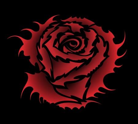 Vector rose tattoo style Illustration