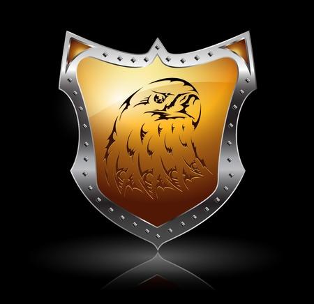 golden eagle: Vector gl�nzende Schild