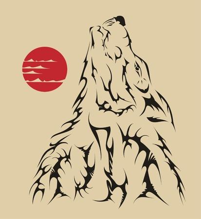 black wolf: Vector tattoo style wolf Illustration