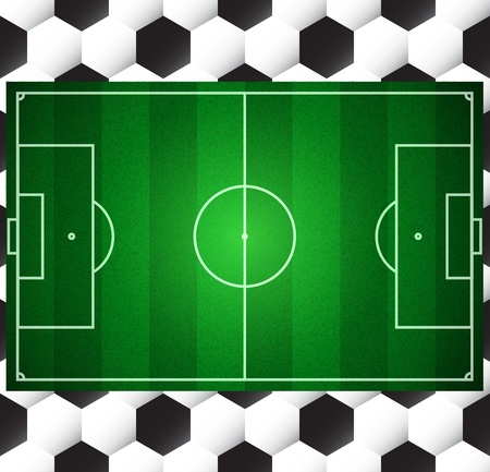 Football soccer vector field on seamless ball texture