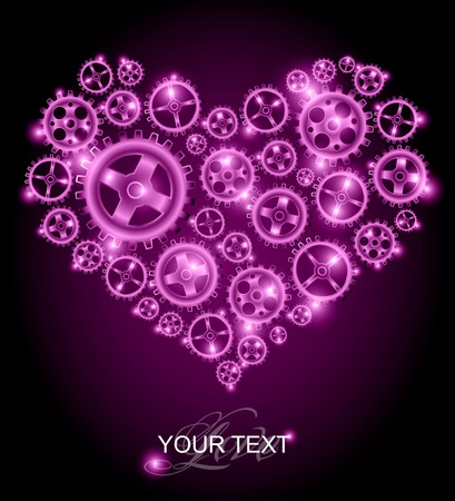 shaped: Love card - purple heart background
