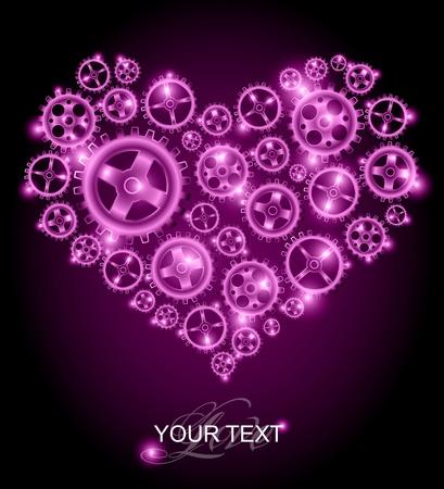 Love card - purple heart background