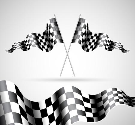cuadros blanco y negro: Banderas a cuadros sobre fondo gris