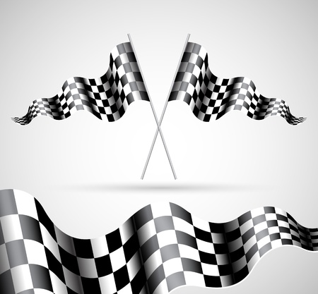 Checkered Flags on grey background