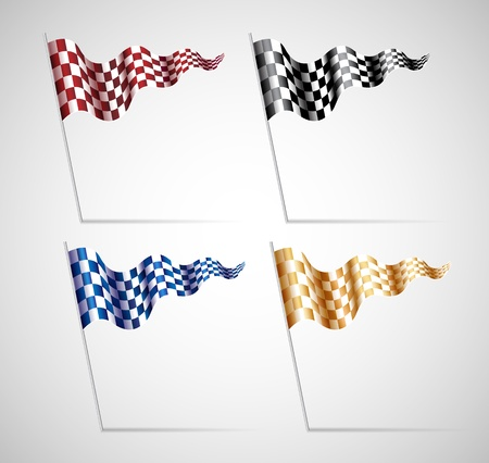 colorful Checkered Flags Set on grey background